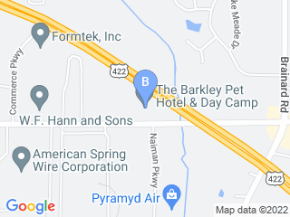 Map of Barkley Pet Hotel and Day Spa Dog Boarding options in Chagrin Falls | Boarding