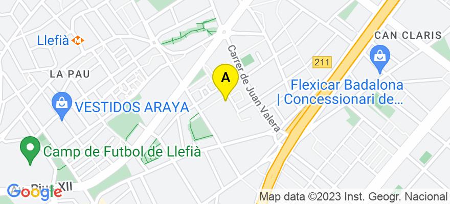 situacion en el mapa de . Direccion: C/Rosellon 199 3 1, 08036 Badalona. Barcelona