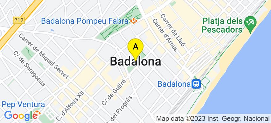 situacion en el mapa de . Direccion: Pº La Salud, nº 62 1º, 08914 Badalona. Barcelona