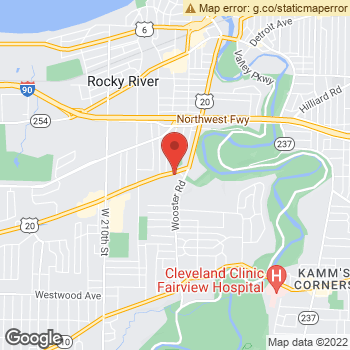 Map of Dr. Troy T.Pesek, Optometrist, and Associates - Rocky River at 19649 Center Ridge Rd, Rocky River, OH 44116