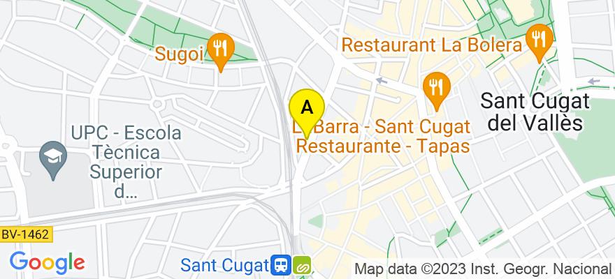 situacion en el mapa de . Direccion: Avda. Lluis Companys 11, 1º3ª, 08172 Sant Cugat del Vallès. Barcelona