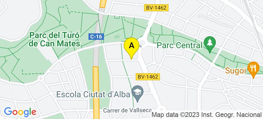 situacion en el mapa de . Direccion: Isidre Margenat 7, 08195 Sant Cugat del Vallès. Barcelona