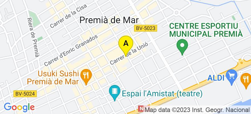 situacion en el mapa de . Direccion: C/ Unió, 48, 08330 Premià de Mar. Barcelona