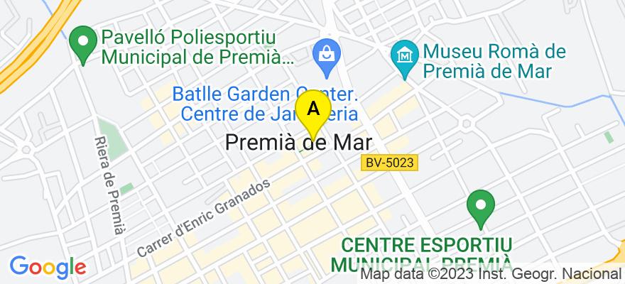 situacion en el mapa de . Direccion: Pza. Romà Piera, 1 local 22, 08330 Premià de Mar. Barcelona