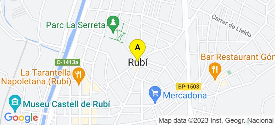 situacion en el mapa de . Direccion: C/ Maximí Fornés, 64, 1º3º, 08191 Rubí. Barcelona