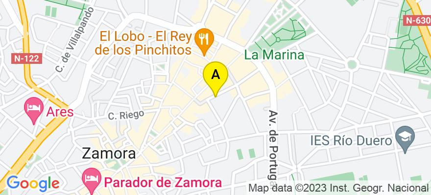 situacion en el mapa de . Direccion: c/ San Miguel nº 2 - 1º, 49015 Zamora. Zamora