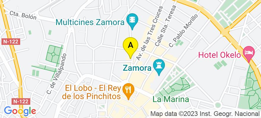 situacion en el mapa de . Direccion: AVDA VICTOR GALLEGO, 11 - 5º C, 49009 Zamora. Zamora