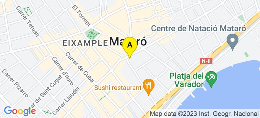 situacion en el mapa de . Direccion: c/Sant Agustí 1, 2º 1ª, 08301 Mataró. Barcelona