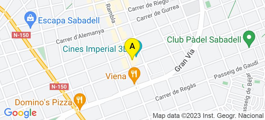 situacion en el mapa de . Direccion: Rambla, 207, 2º 1ª, 08202 Sabadell. Barcelona