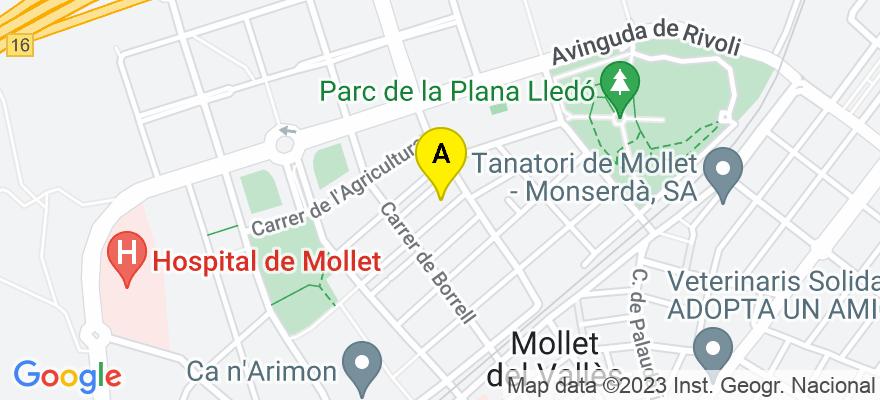 situacion en el mapa de . Direccion: Avd.Rafael casanova 25, 08100 Mollet del Vallès. Barcelona