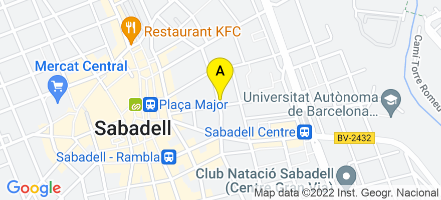 situacion en el mapa de . Direccion: c/ Sant Llorenç 41, 1°, 08202 Sabadell. Barcelona