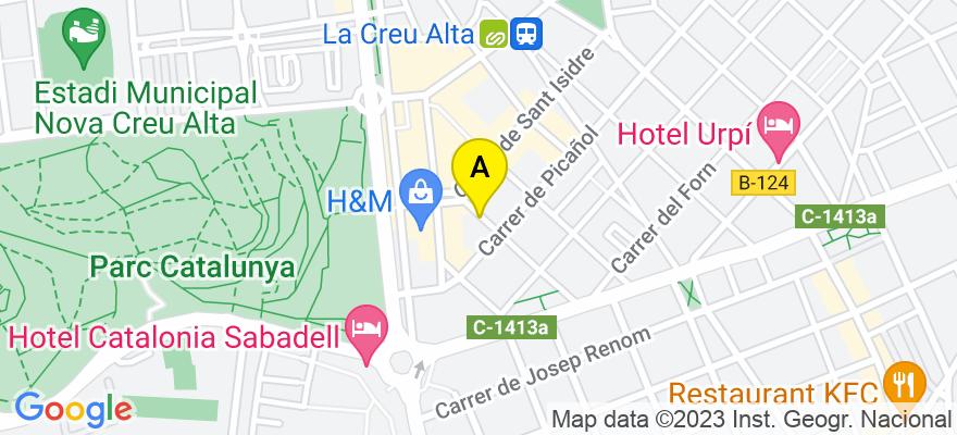 situacion en el mapa de . Direccion: Calle Roca 61 bjos, 08208 Sabadell. Barcelona