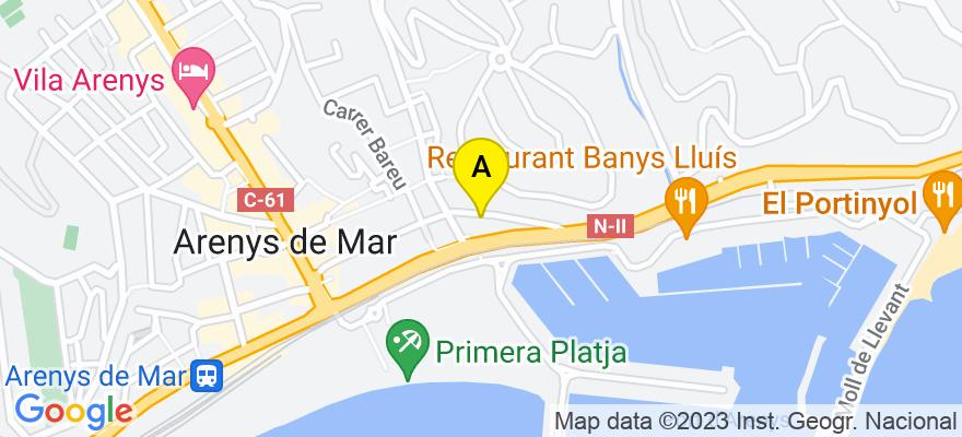 situacion en el mapa de . Direccion: C/ Anselm Clave 66 C, 08350 Arenys de Mar. Barcelona
