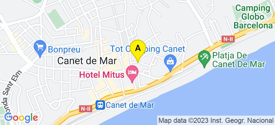situacion en el mapa de . Direccion: c/ Romaní, 10, 08360 Canet de Mar. Barcelona