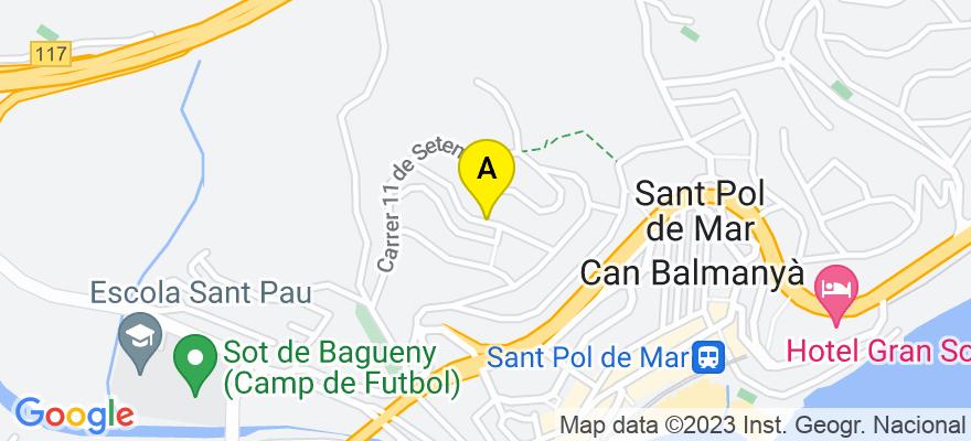 situacion en el mapa de . Direccion: calle Conxita Badía, 24, bajos, 08395 Sant Pol de Mar. Barcelona