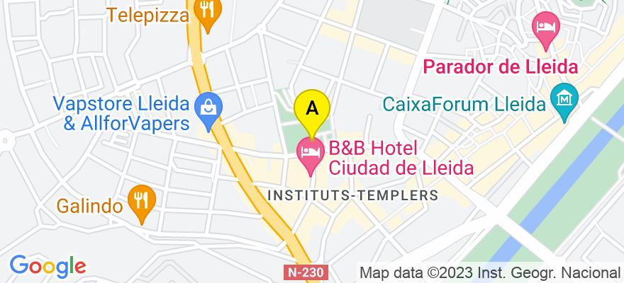 situacion en el mapa de . Direccion: C/ Lluis Companys 18e- 4a, 25003 Lleida. Lleida