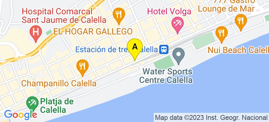 situacion en el mapa de . Direccion: Anselmo Clavé 133, 08370 Calella. Barcelona