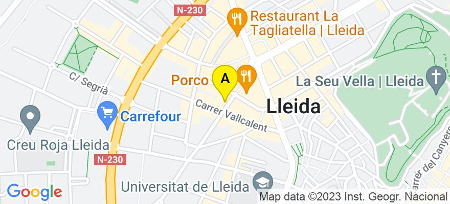 situacion en el mapa de . Direccion: c/Bisbe Ruano 12, 6º 2ª, 25004 Lleida. Lleida