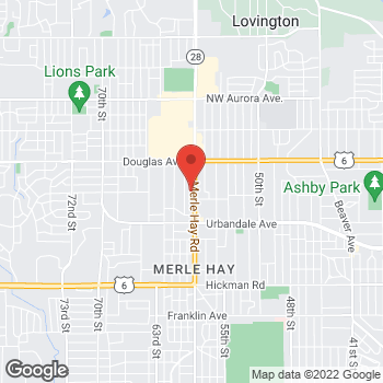 Map of Check `n Go at 3424 Merle Hay Rd., Des Moines, IA 50310