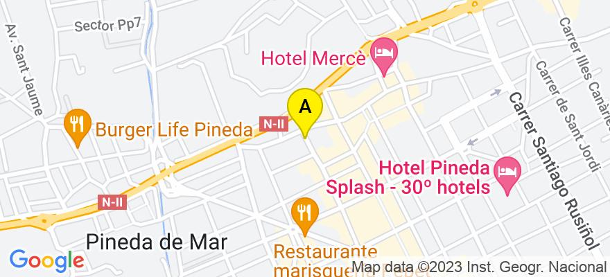 situacion en el mapa de . Direccion: Calle Moragas i Barret, nº 75, 08397 Pineda de Mar. Barcelona