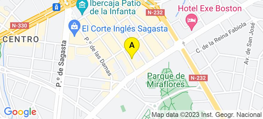 situacion en el mapa de . Direccion: C/José María Lacarra de Miguel 41, 3ª, 2ª, 50008 Zaragoza. Zaragoza