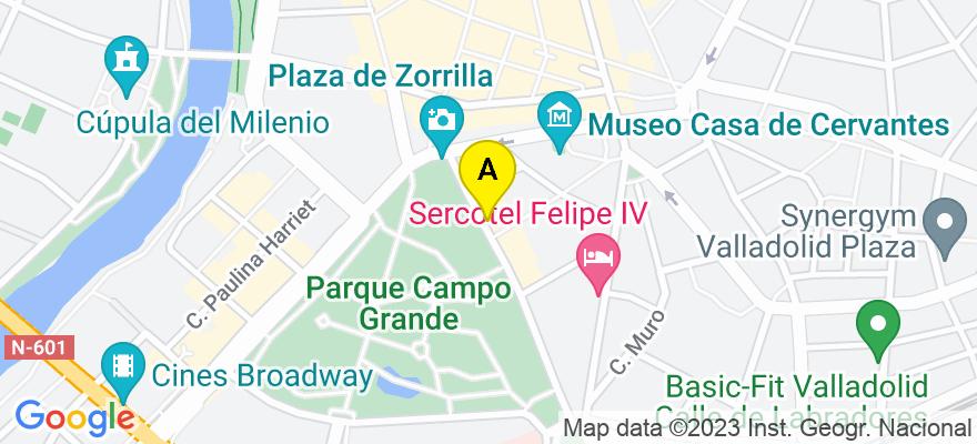 situacion en el mapa de . Direccion: Acera de Recoletos, 5 - 1º, 47004 Valladolid. Valladolid