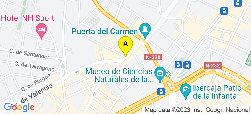 situacion en el mapa de . Direccion: Plaza de España, 6, 2º D, 50001 Zaragoza. Zaragoza