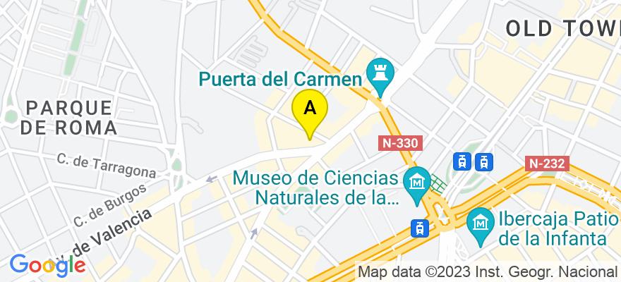 situacion en el mapa de . Direccion: Gran vía, 21, entresuelo derecha, 50006 Zaragoza. Zaragoza