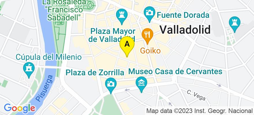 situacion en el mapa de . Direccion: C/ SANTIAGO 13, 5º A, 47001 Valladolid. Valladolid