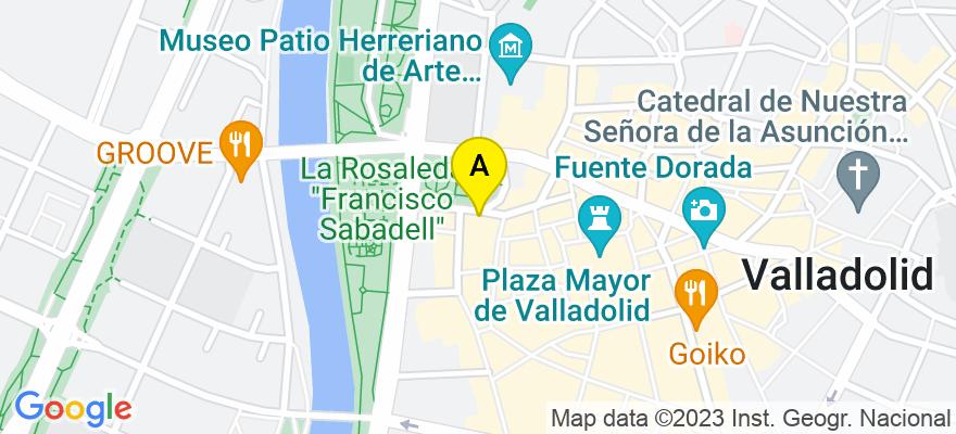 situacion en el mapa de . Direccion: Plaza Poniente, 4, 2º A, 47003 Valladolid. Valladolid