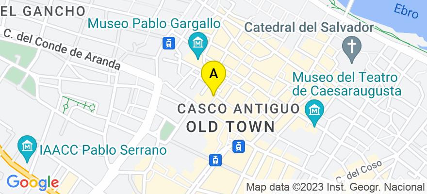 situacion en el mapa de . Direccion: Alfonso I nº 13-15, 2º A, 50009 Zaragoza. Zaragoza