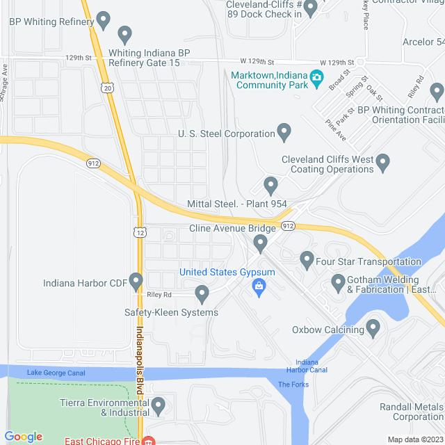 Map of Cline Avenue Bridge