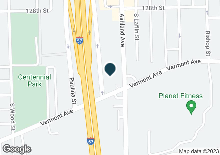 Google Map of12854 S ASHLAND AVE