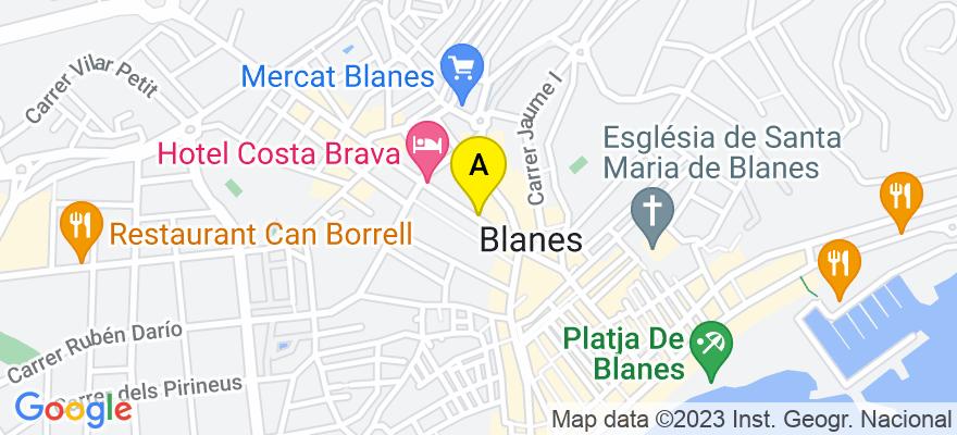 situacion en el mapa de . Direccion: anselm clave 22 bajos, 17300 Blanes. Girona
