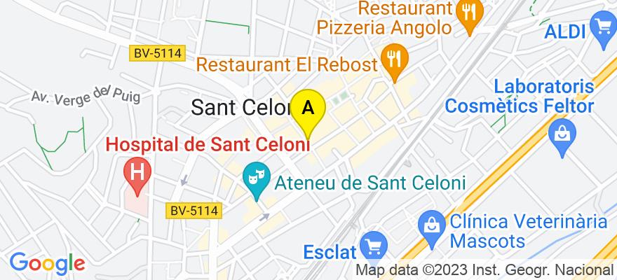 situacion en el mapa de . Direccion: Calle Sant Pere 19, 08470 Sant Celoni. Barcelona