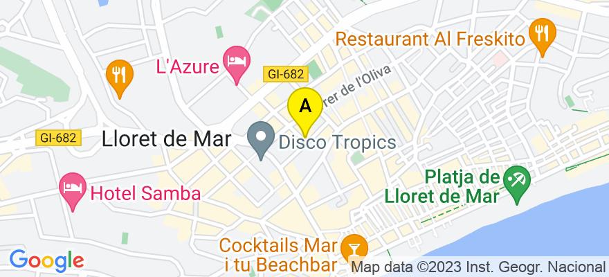 situacion en el mapa de . Direccion: Carrer Enric Granados, 10  -   1r-1a  /  2n-1a, 17310 Lloret de Mar. Girona