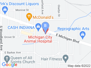 Map of Michigan City Animal Hospital Dog Boarding options in Michigan City | Boarding