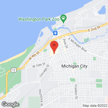 Map of GUESS Factory at 1630 Lighthouse Place, Michigan City, IN 46360