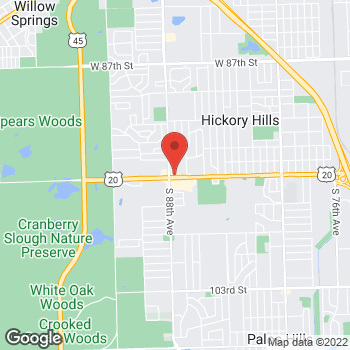Map of Taco Bell at 8760 W 95th Street, Hickory Hills, IL 60457
