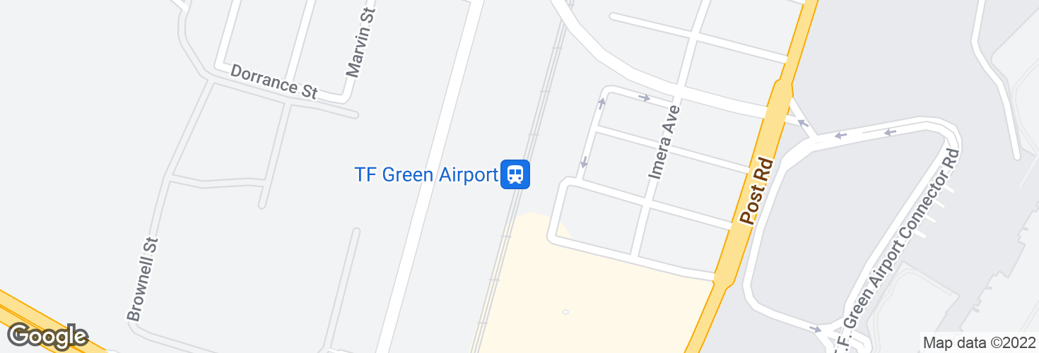 Map of TF Green Airport and surrounding area