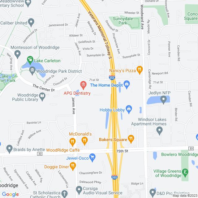 Map of Veterans Memorial (I 355) tollway