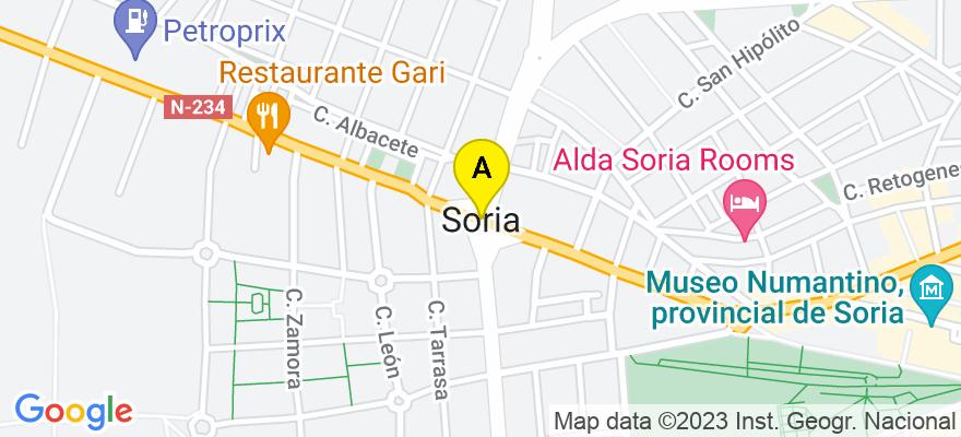 situacion en el mapa de . Direccion: Calle Puertas de Pro, 46, 1º izda., 42002 Soria. Soria