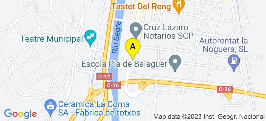 situacion en el mapa de . Direccion: Av. països catalans, 61, 25600 Balaguer. Lleida