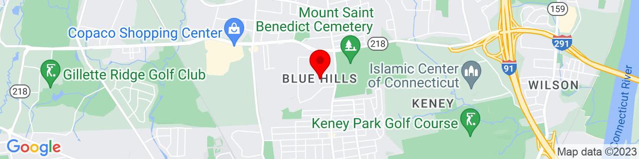 Google Map of 41.812777777777775, -72.6975