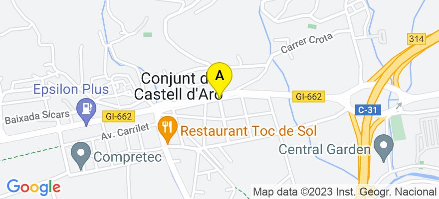 situacion en el mapa de . Direccion: Avenida Platja d'Aro Nº242, 17248 Castell-Platja d'Aro. Girona