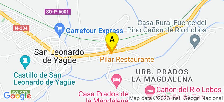 situacion en el mapa de . Direccion: C/ SAN PEDRO,53, 42140 San Leonardo de Yagüe. Soria