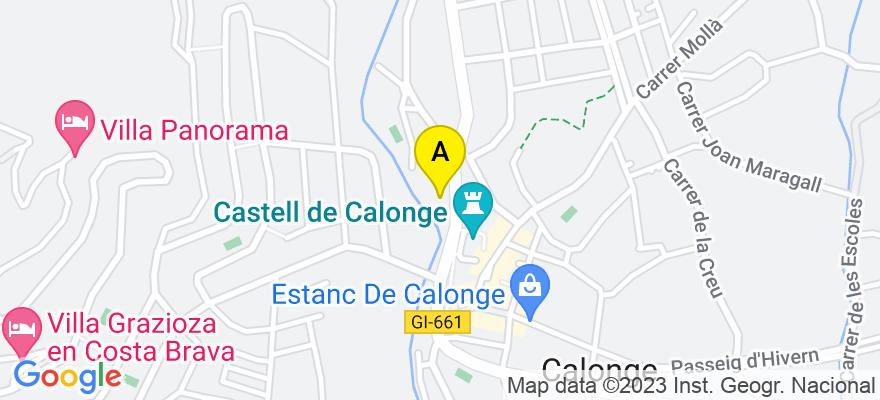 situacion en el mapa de . Direccion: C/ Puigcerver nº 15, 17251 Calonge. Girona