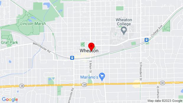 Google Map of 102 E. Wesley Street, Wheaton, IL 60187