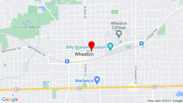 Google Map of 225 N. Cross St, Wheaton, IL 60187