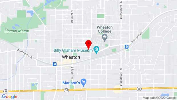 Google Map of 332 E. Seminary Ave., Wheaton, IL 60187